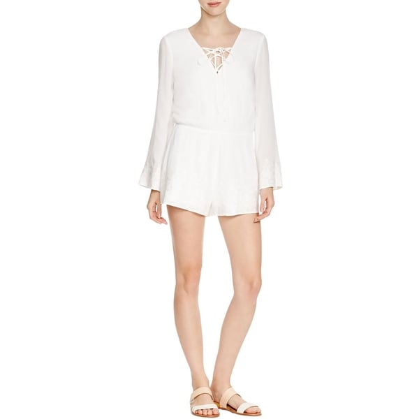 Aqua Womens Romper Lace-Up Embroidered