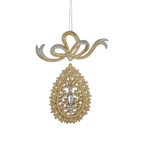 """6"""" Gold and Silver Glittered Round Teardrop with Gem Dangling Christmas Ornament"""