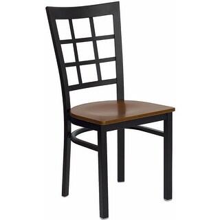 Offex HERCULES Series Black Window Back Metal Restaurant Chair - Cherry Wood Seat [OF-XU-DG6Q3BWIN-CHYW-GG]