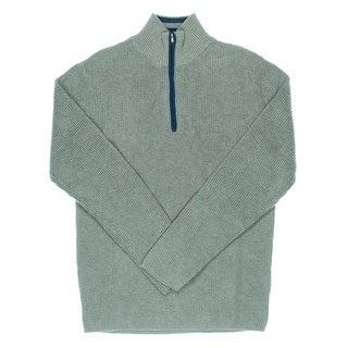 Alex Stevens Mens Contrast Trim 1/4 Zip Mock Turtleneck Sweater