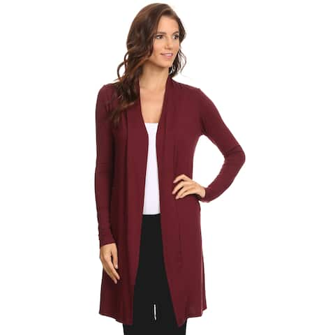 Women's Cardigan Long Open Front Made in USA BURGUNDY (Small)