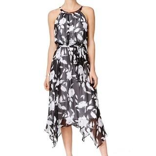 Sangria NEW Black Women's Size 10 Empire Waist Floral Chiffon Dress