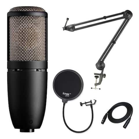 AKG P420 Condenser Microphone with Studio Stand and Pop Filter Bundle