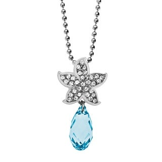Starfish Pendant with Azure & White Swarovski Crystals in Sterling Silver - Blue