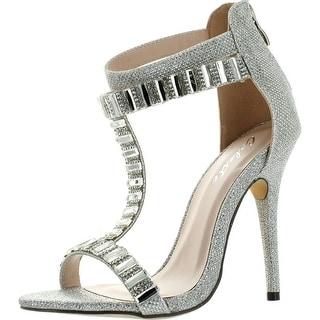Mark & Maddux Women's Wendy-05 T-Strap Dress Sandal - Silver