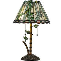 """Meyda Tiffany 138588 Loro Paraiso 2-Light 24"""" Tall Hand-Crafted Table Lamp with Stained Glass - Mahogany Bronze - n/a"""