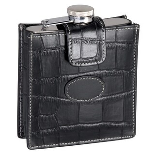 Royce Leather 949-BL-CR-5 Crocodile Embossed 5 Ounce Stainless Steel Flask - Black