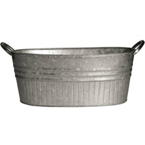 """Robert Allen MPT01645 Tapered Oval Tub with Handles, Galvanized, 16.5"""""""