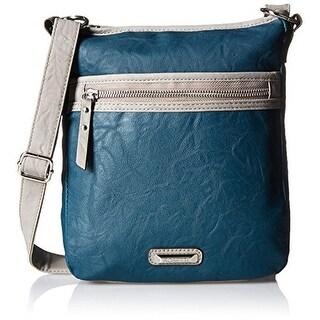 Rosetti Womens Tote It All Faux Leather Contrast Trim Crossbody Handbag - Storm - Medium
