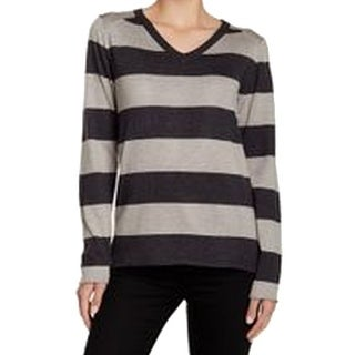 Sweet Romeo NEW Gray Black Women's Size XL Stripe V-neck Sweater