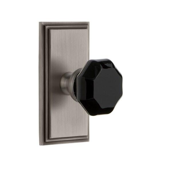Grandeur CARLYO_DD_NA Carre Solid Brass Rose Dummy Door Knob Set with Lyon Black Crystal Knob