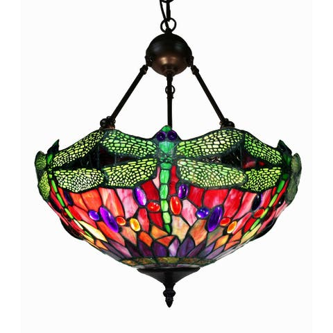 Robbie Oil Rubbed Bronze 2-Light Tiffany-Style Dragonfly Design Chandelier