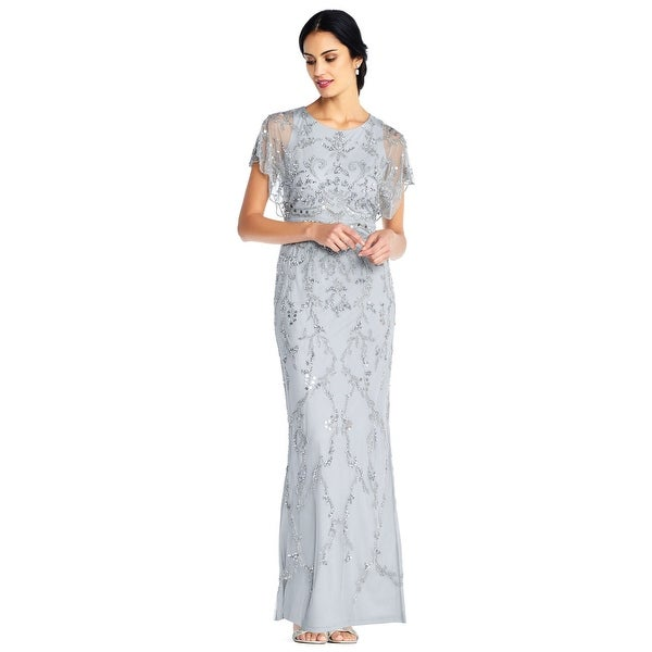 Adrianna Papell Beaded Long Dress Edged Sleeve, Blue Mist, 4