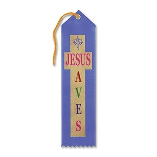 "Pack of 6 Blue ""Jesus Saves Award"" Decorative Award Ribbon Bookmarks 8"""