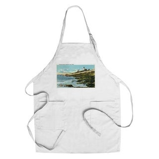 Pemaquid Point, ME - Lighthouse - Vintage Halftone (Chef's Cotton/Poly Apron)