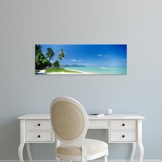 Easy Art Prints Panoramic Images's 'Palm trees on the beach, Penang State, Malaysia' Premium Canvas Art