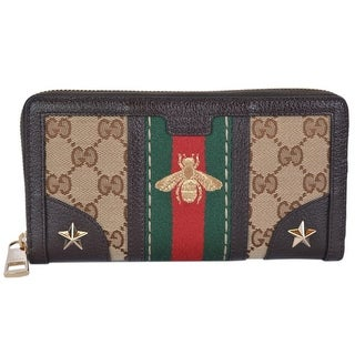 96ddb5f3672 Shop Gucci Women s Canvas GG Guccissima Vintage Web Stripe BEE Zip Around  Wallet - 7.5