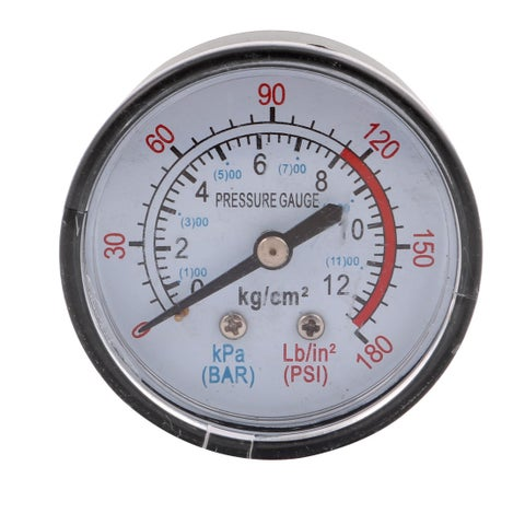 1/4 BSP 0-12 kg/cm2 0-180 PSI Male Threaded Round Dial Air Pressure Gauge