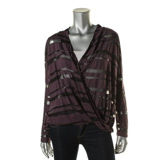 Red Haute Womens Burnout Striped Pullover Top