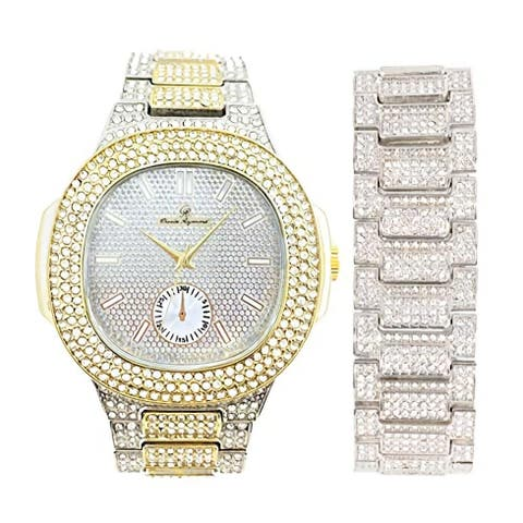 Blinged Out Oblong Case Metal Mens Watch w/Matching Blinged Out Bracelet Set - 8475BM