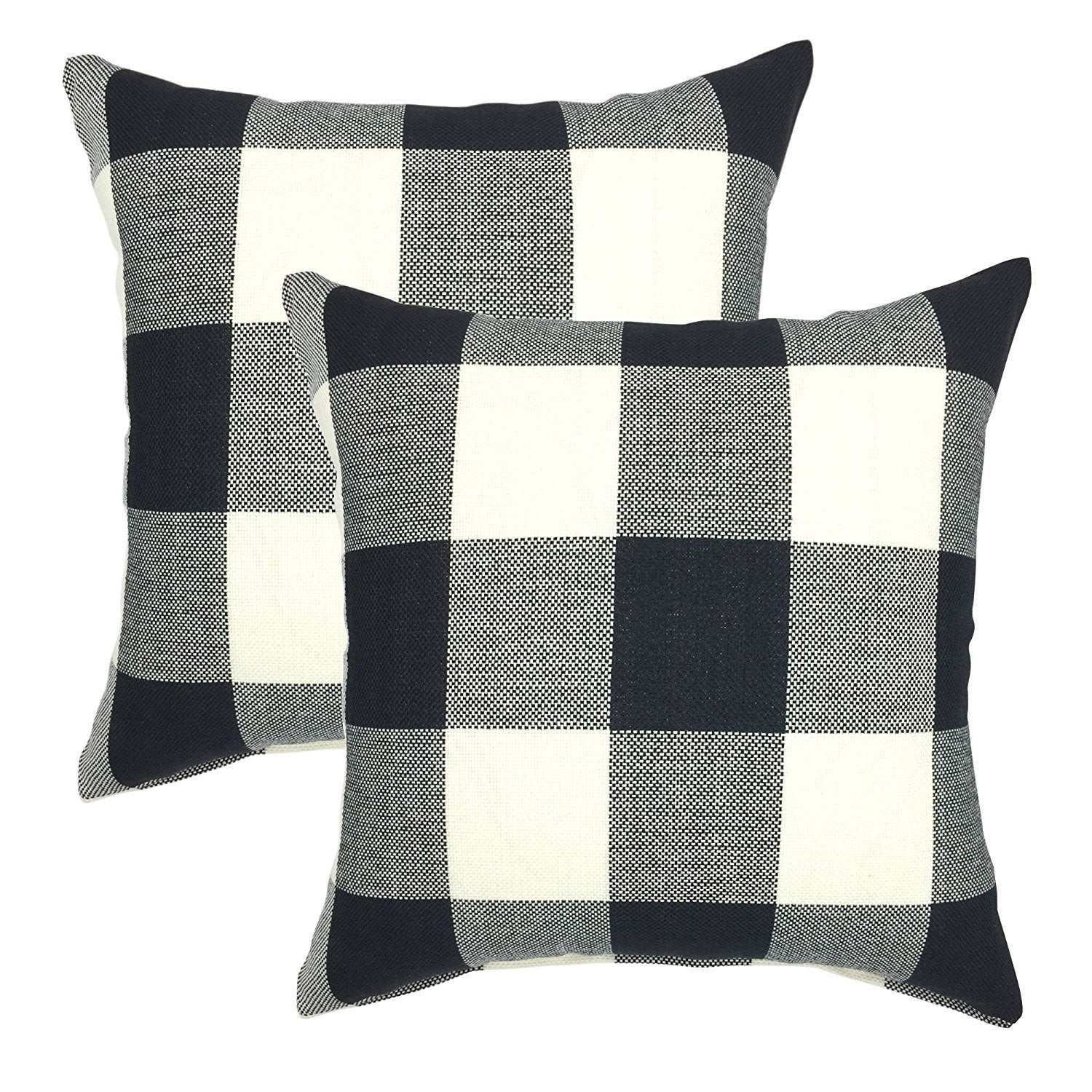 Buffalo Check 18 Inch Decorative Throw Pillow Cover Set Of 2 Overstock 19848778
