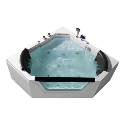 """Ariel PW1565959CW1 Platinum 59-3/5"""" Corner Acrylic Whirlpool Tub with Right Drain, Drain Assembly and Overflow - with LED"""