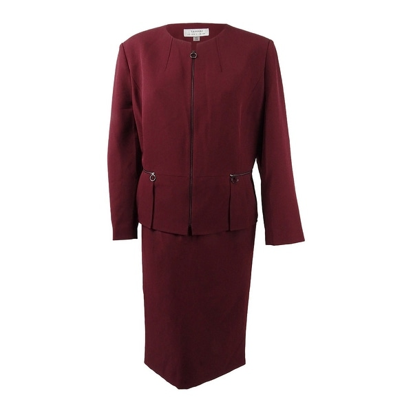 Tahari ASL Women's Peplum Skirt Suit - Sangria Red