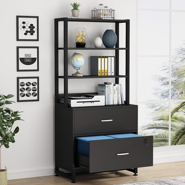 2 Drawer File Cabinet with Lock & Open Shelves, Letter Size, Black / Brown. Opens flyout.