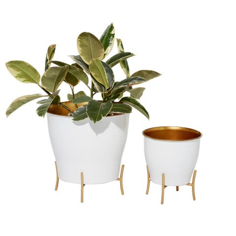 Round White Enamel Metal Planters w Gold Inlay And Stand, Set Of 2 - 12 x 12 x 12Round