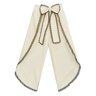Girls Ivory Black Scalloped Trim Bow Accent Wide Leg Pants 7-10
