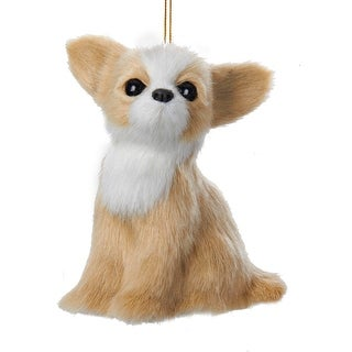 "Sandy Tan and White Plush Chihuahua Puppy Dog Christmas Ornament 4"""