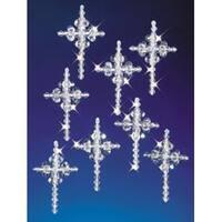 "Crystal Crosses 2"" Makes 24 - Holiday Beaded Ornament Kit"
