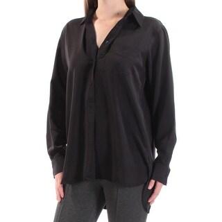 RALPH LAUREN $89 Womens New 1330 Black Collared Cuffed Button Up Top M B+B