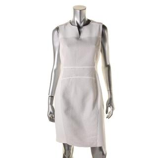 Elie Tahari Womens Anya Leather Trim Sleeveless Casual Dress - 8