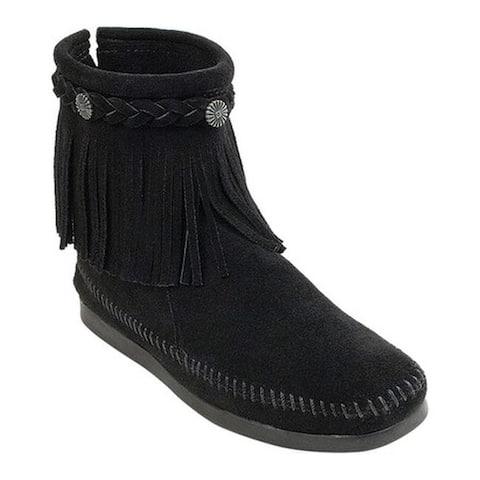Minnetonka Women's Hi Top Back Zip Boot Black Suede