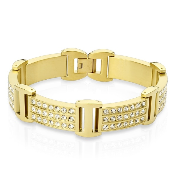 "Triple Lined Crystals Gold IP Stainless Steel Bracelet - 8.5"" (Sold Ind.)"