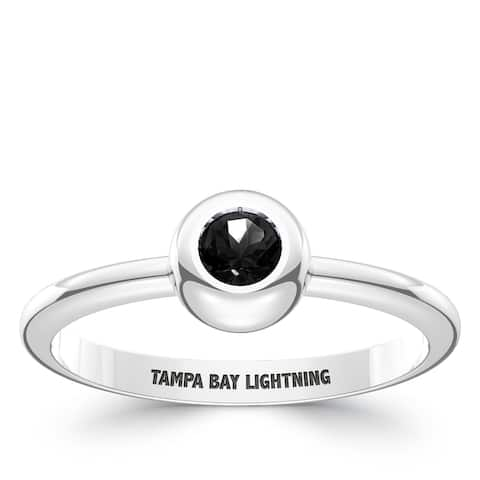 Tampa Bay Lightning Engraved Sterling Silver Black Onyx Ring