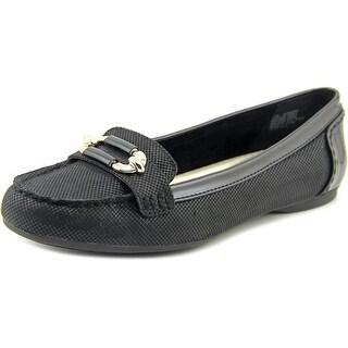 Anne Klein Keep It Women Moc Toe Canvas Black Loafer (Option: Comfortable)