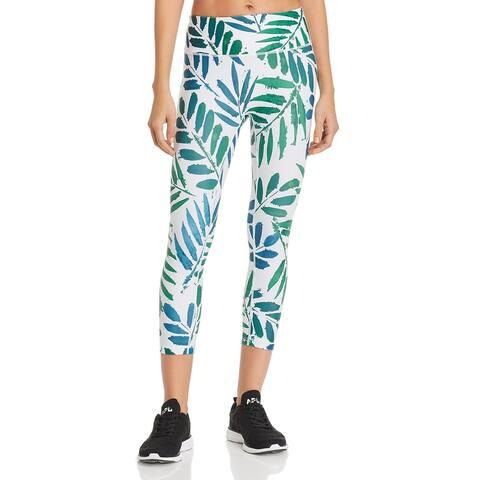 Prismsport Womens Athletic Leggings Running Fitness - White/Green - M