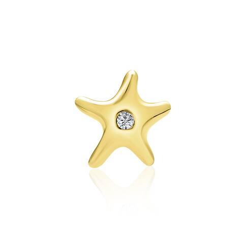 Starfish Cartilage Earrings Cubic Zirconia Real 14K Gold Screwback