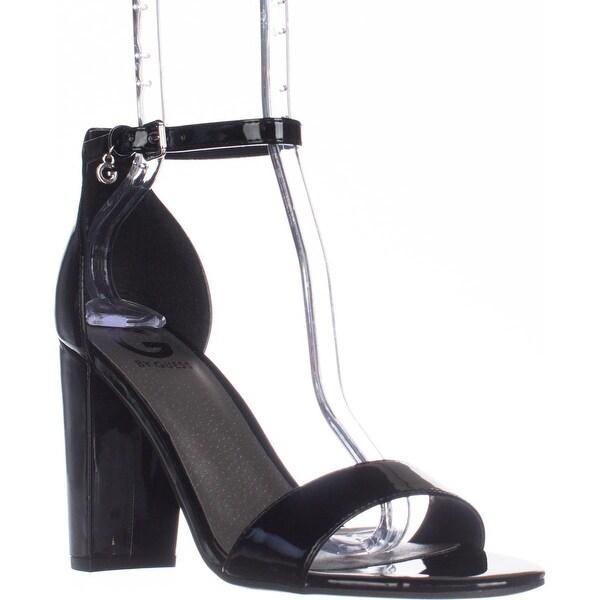 G Guess Shantel3 Ankle Strap Block Heel Sandals, Black