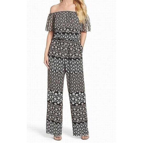 0d24edb56a2 Shop Eliza J Black Womens Size 12 Floral Print Off-Shoulder Jumpsuit - Free  Shipping Today - Overstock - 22436679