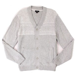 Alfani Light Gray Mens Size 2XL Ribbed Cardigan Two-Tone Sweater