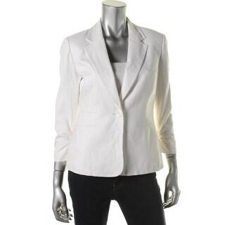 Nine West Womens Linen Notch Collar One-Button Blazer - 2