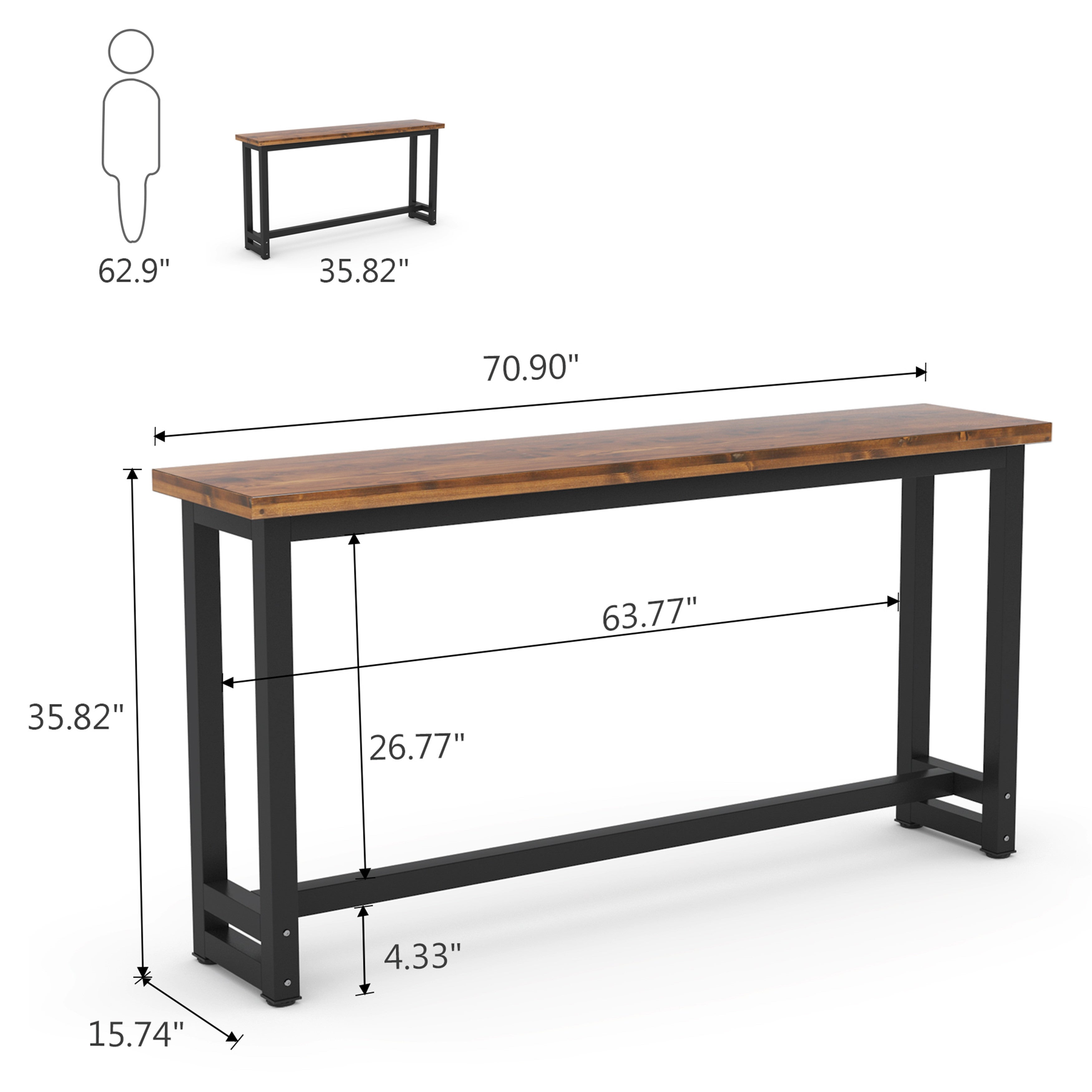 Picture of: 70 9 Inches Extra Long Industrial Sofa Table Console Table Bar Table On Sale Overstock 31307368