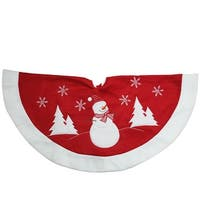 """33"""" Red and White Winter Snowman Embroidered Christmas Tree Skirt"""
