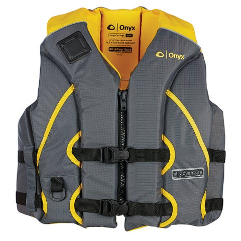 Onyx all adventure adult shoal life jacket s/m yellow