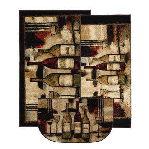 Mohawk Home New Wave Wine and Glasses Kitchen Mat Accent Rugs