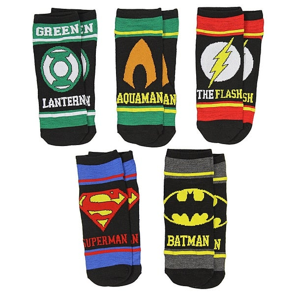 DC Comics Justice League Superhero Symbols Boys' 5 Pack Low Cut Ankle Socks