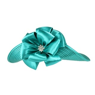 Womens Wide UpBrim Satin Briad Large Bow w/ Stone Center Hat